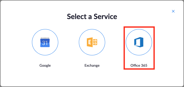 Select a Service | Choose 'Office 365'